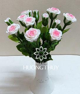 Hoa đất Hương Thủy – Hoa hồng size trung màu trắng hồng