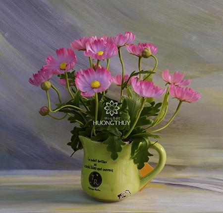 Cốc hoa bướm màu hồng: cao 25cm