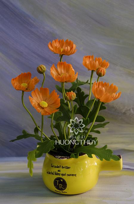 Cốc hoa bướm màu cam: cao 23cm
