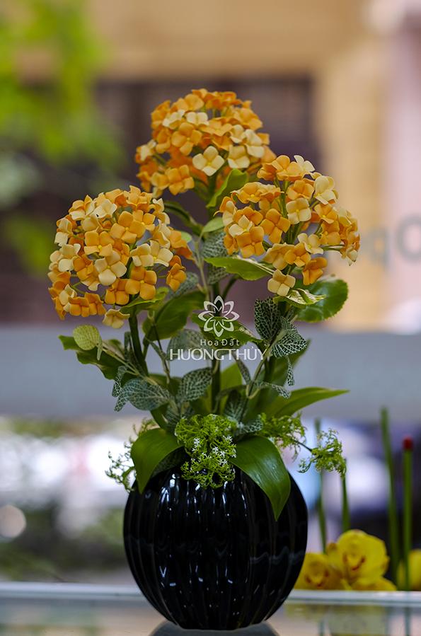 Hoa Tú cầu mầu cam 3 bông: Cao 42cm – ngang 22cm