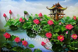 Tranh hoa Sen hồng cỡ 95x135cm