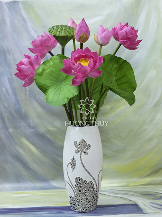 Hoa đất Hương Thủy – Hoa sen hồng 4 bông, 2 nụ, 1 bông hé