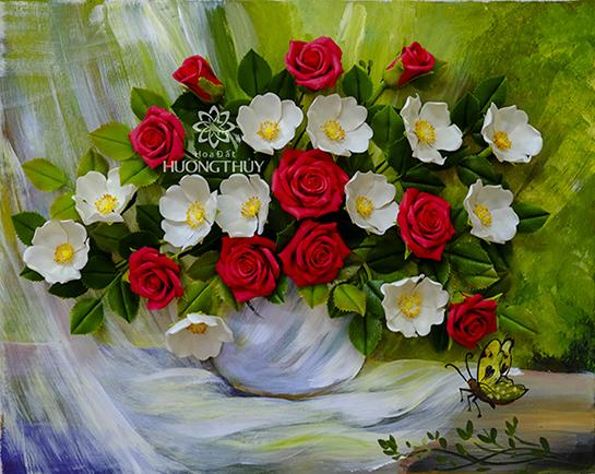 Tranh hoa hồng đỏ – trắng: kích thước 50×60 hoặc 60x70cm