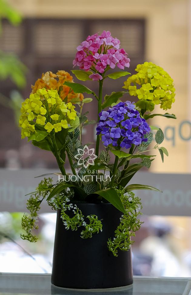 Bình hoa Tú cầu 5 bông: Cao 53cm – ngang 30 – sâu 18cm